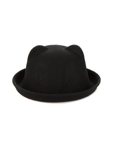Laslusa Kulaklı Melon Keçe Şapka Siyah